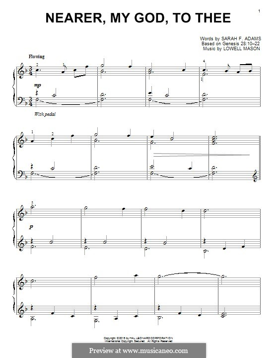 Nearer, My God, To Thee (Printable scores): For piano by Lowell Mason