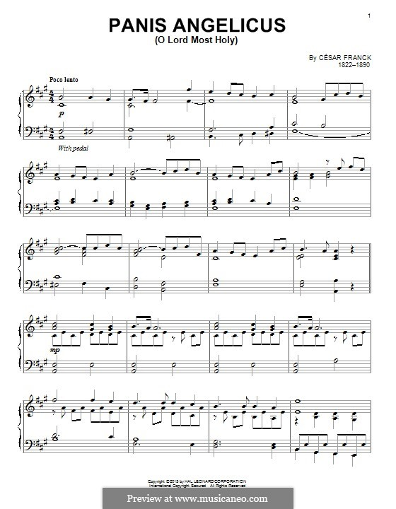 Panis Angelicus (O Lord Most Holy), Printable Scores: For piano by César Franck