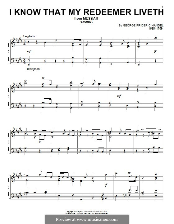 No.45 I Know That My Redeemer Liveth: For piano by Georg Friedrich Händel