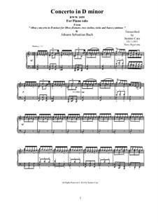 Concerto for Oboe and Orchestra in D Minor, BWV 1059: Movement III Presto, piano version by Johann Sebastian Bach