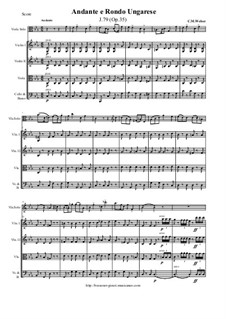 Andante and Hungarian Rondo for Viola and Orchestra, J.79 Op.35: Score and all parts by Carl Maria von Weber