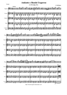 Andante and Hungarian Rondo for Bassoon and Orchestra, J.158 Op.35: Score and all parts by Carl Maria von Weber