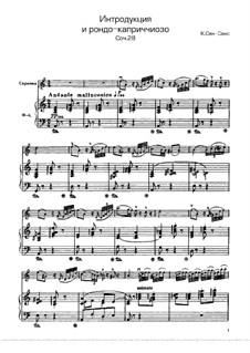 Introduction and Rondo Capriccioso, Op.28: For violin and piano – score, solo part by Camille Saint-Saëns