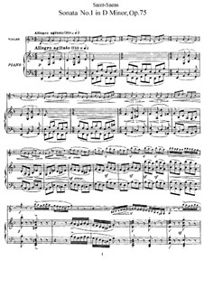 Sonata for Violin and Piano No.1 in G Minor, Op.75: Score by Camille Saint-Saëns