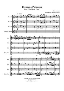 Papageno Papagena: For oboe and english horn quartet by Wolfgang Amadeus Mozart