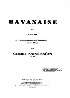 Havanaise, Op.83: Score for violin and piano, Solo part by Camille Saint-Saëns