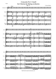 Concerto for Clarinet and Orchestra No.1, J.114 Op.73: Score and parts by Carl Maria von Weber