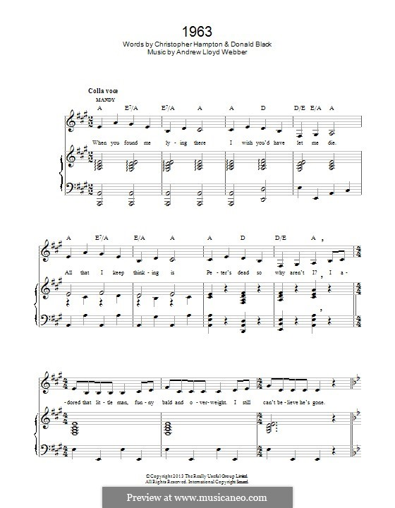 1963 (from 'Stephen Ward'): For voice and piano by Andrew Lloyd Webber