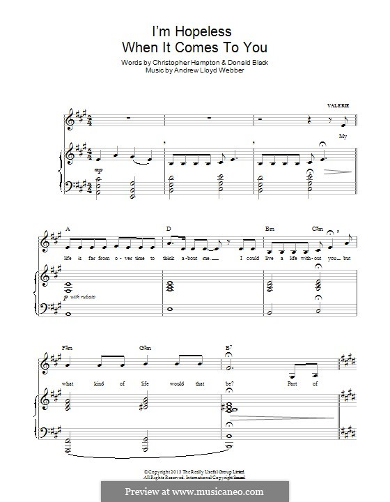 I'm Hopeless When It Comes To You (from 'Stephen Ward'): For voice and piano by Andrew Lloyd Webber