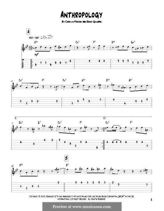 Anthropology: For guitar with tab by Charlie Parker, Dizzy Gillespie