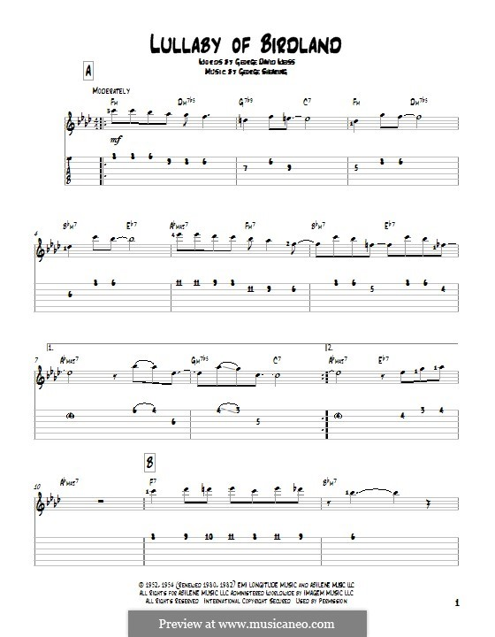 Lullaby of Birdland (Ella  Fitzgerald): For guitar with tab by George Shearing