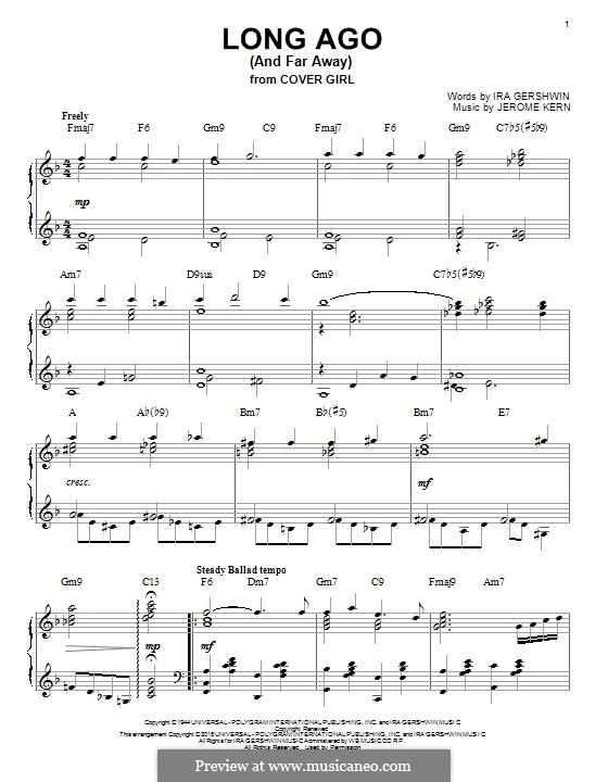 Long Ago (and Far Away): For piano by Jerome Kern