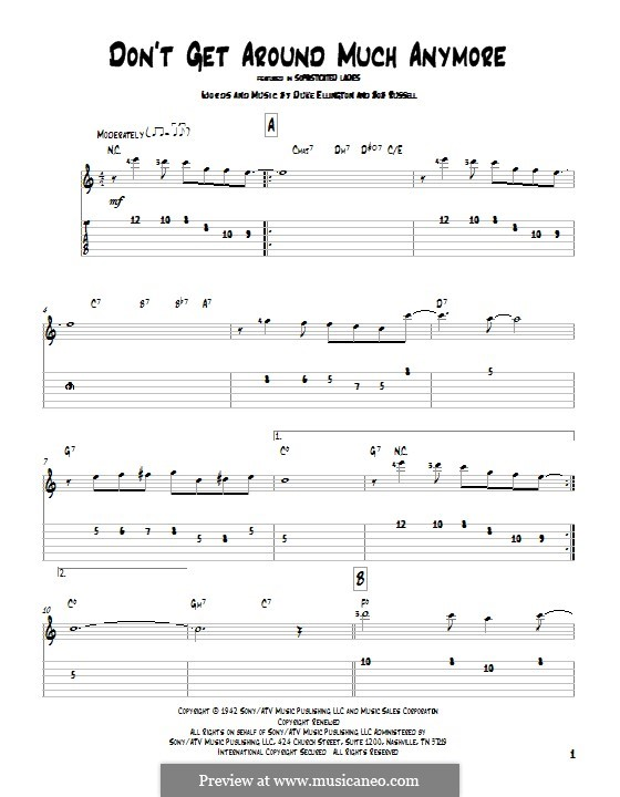 Don't Get Around Much Anymore: For guitar with tab by Duke Ellington