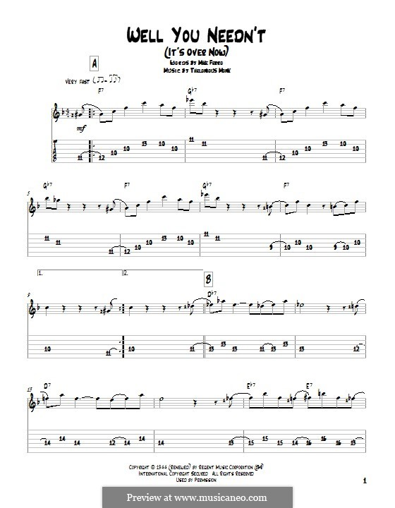 Well You Needn't (It's Over Now): For guitar with tab by Thelonious Monk