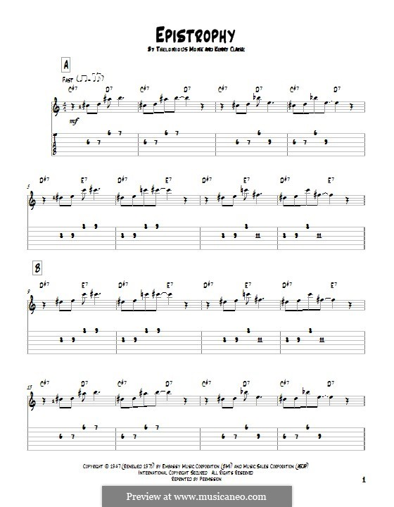 Epistrophy (Thelonious Monk): For guitar with tab by Kenny Clarke