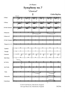 Symphony No.7 'Classical', B168: Score and parts by Colin Bayliss