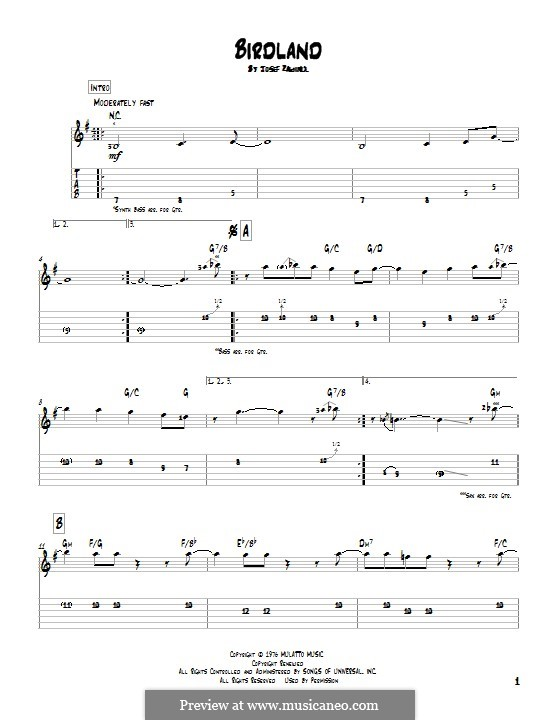 Birdland (Weather Report): For guitar with tab by Josef Zawinul