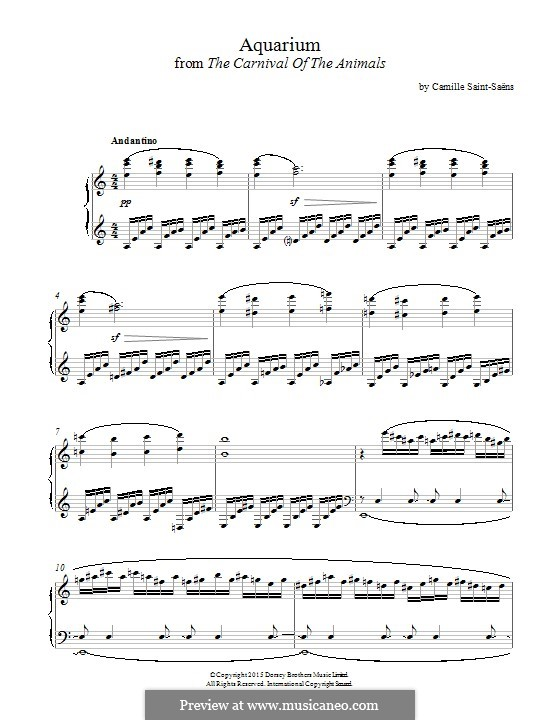 Aquarium: For piano by Camille Saint-Saëns