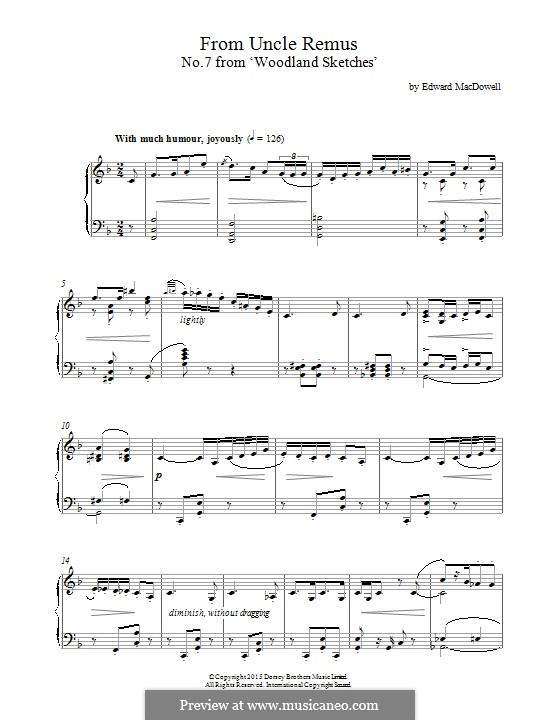 No.7 From Uncle Remus : For piano by Edward MacDowell