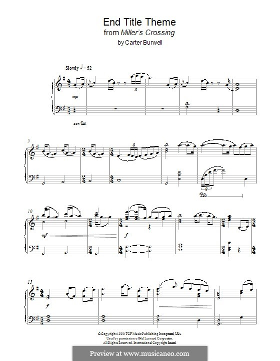 Miller's Crossing (End Titles): For piano by Carter Burwell