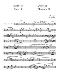 Quintet: Movement III - part of clarinetto basso (bass clef) by Alexander Bystrov