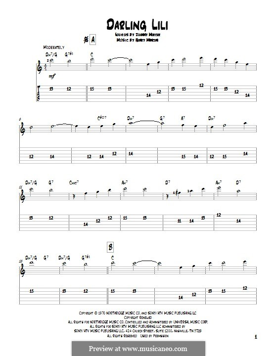 Darling Lili: For guitar with tab by Henry Mancini
