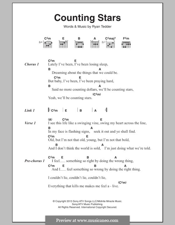 Counting Stars (One Republic) by R.B. Tedder - sheet music on MusicaNeo
