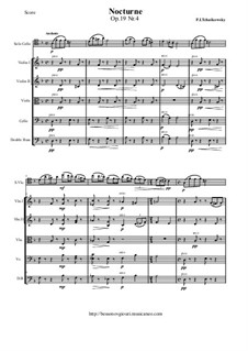 Six Pieces for Piano, TH 133 Op.19: No.4 Nocturne, for cello and string orchestra - score and parts by Pyotr Tchaikovsky