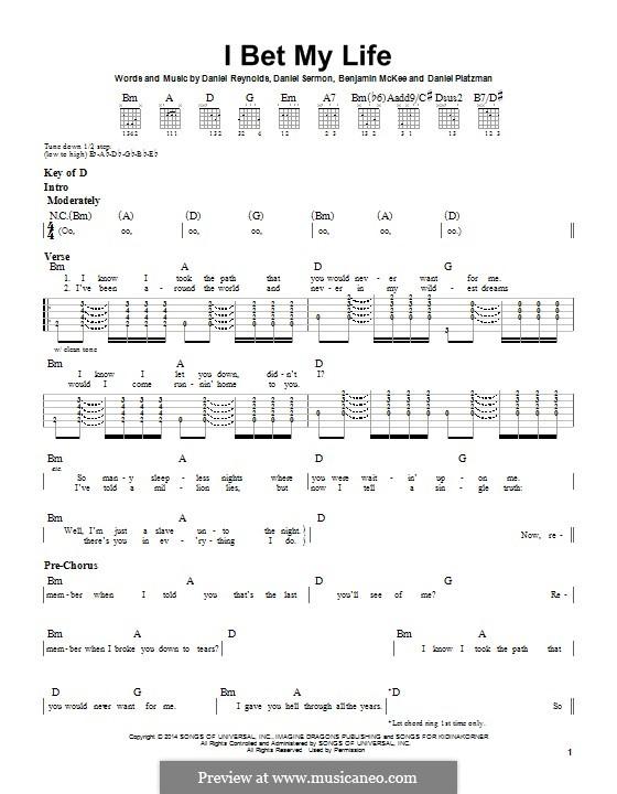 I Bet My Life (Imagine Dragons): For guitar with tab by Benjamin McKee, Daniel Reynolds, Daniel Sermon, Daniel Platzman