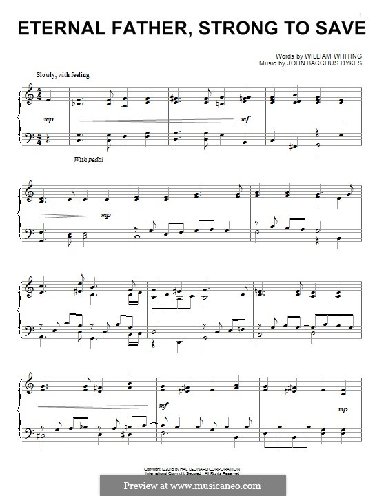 Eternal Father, Strong to Save: For piano by John Bacchus Dykes