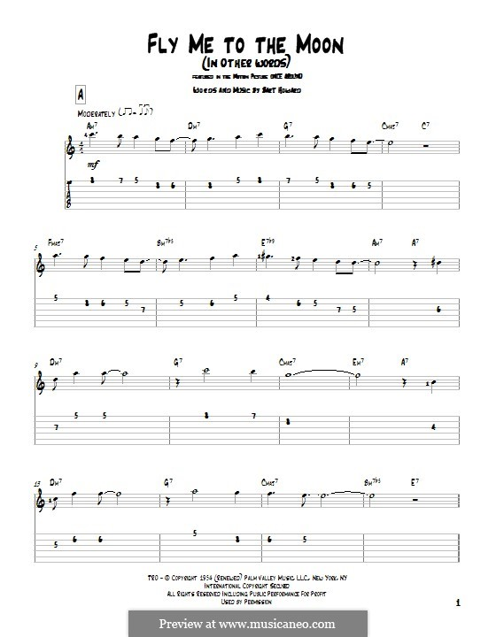 Fly Me to the Moon (In Other Words): For guitar with tab by Bart Howard