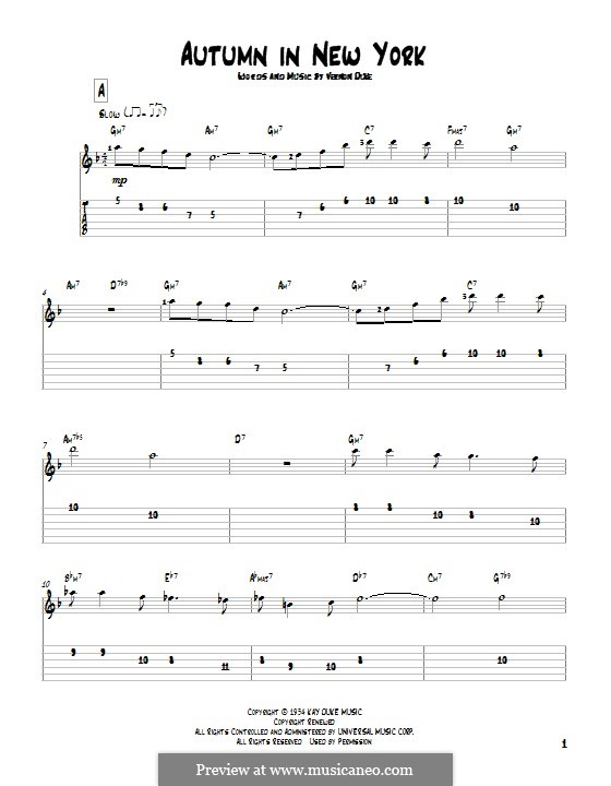 Autumn in New York: For guitar with tab by Vernon Duke