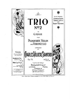 Piano Trio No.2 in G Minor, Op.73: Full score by Charles Villiers Stanford