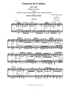 Concerto for Harpsichord and Strings No.5 in F Minor, BWV 1056: Movement III. Arrangement for piano (G Minor) by Johann Sebastian Bach
