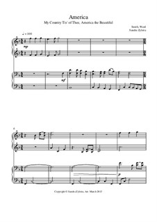 America: For piano four hands by Samuel Augustus Ward, Samuel Francis Smith