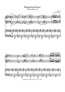 Dance No.5 in F Sharp Minor: For piano four hands by Johannes Brahms