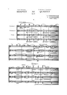 String Quartet No.1, Op.37: Full score by Karol Szymanowski