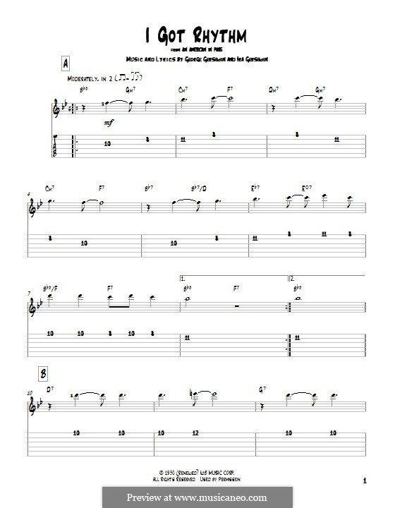 I Got Rhythm: For guitar with tab by George Gershwin