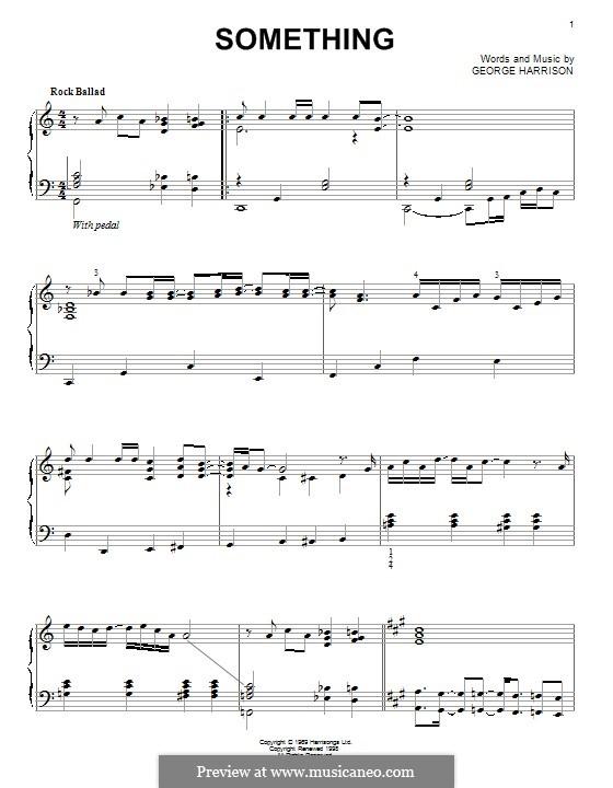 Something (The Beatles): For piano by John Lennon, Paul McCartney