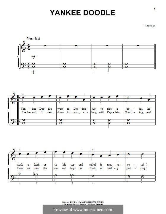 Yankee Doodle: For piano by folklore