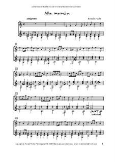 Alla marcia für Blockflöte in C (oder ein anderes Melodieinstrument) und Gitarre: Alla marcia für Blockflöte in C (oder ein anderes Melodieinstrument) und Gitarre by Ronald Fuchs