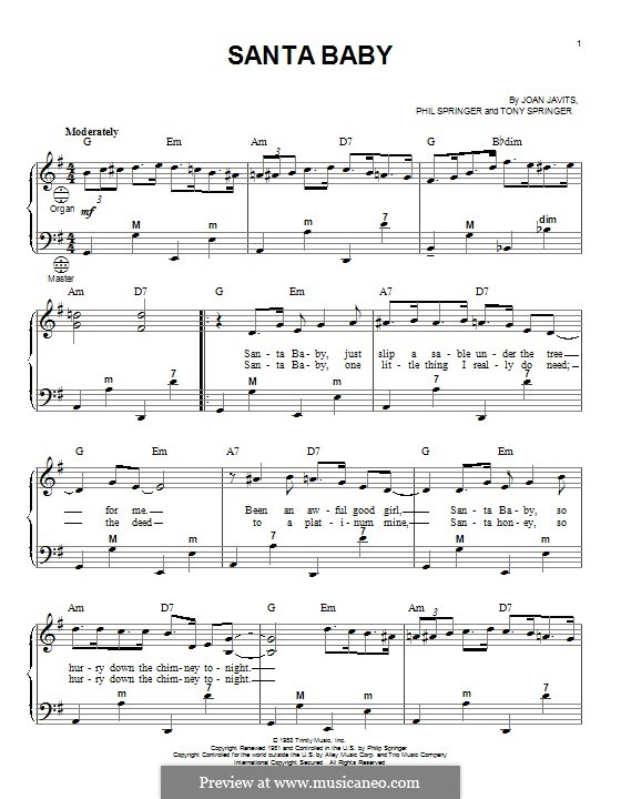 Santa Baby (Eartha Kitt): For accordion by Joan Javits, Philip Springer, Tony Springer
