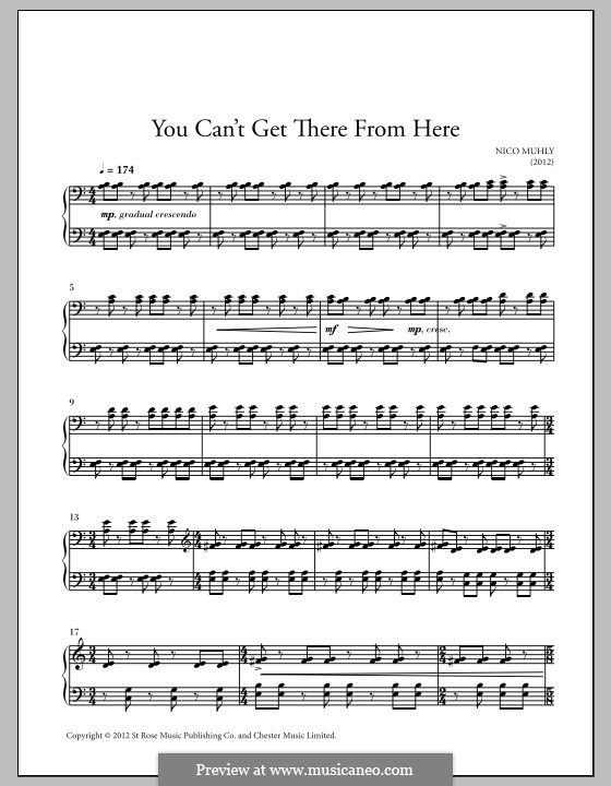 You Can't Get There from Here: For piano by Nico Muhly