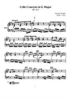 Concerto for Cello and Strings in G Major, RV 413: Score by Antonio Vivaldi