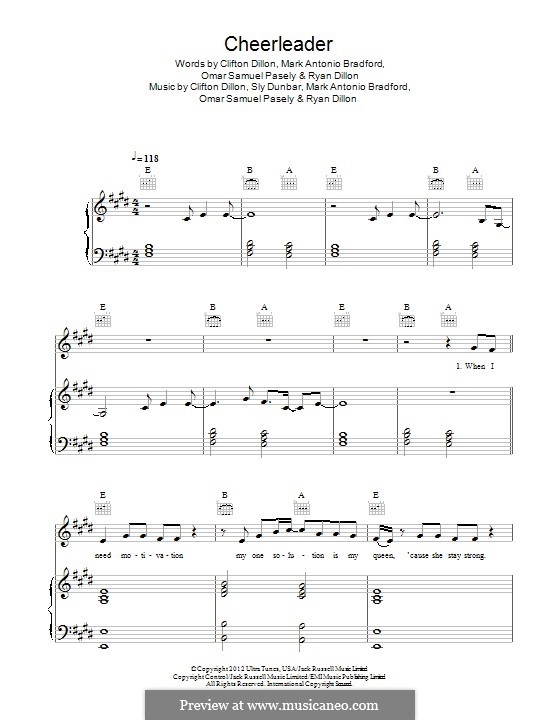 Cheerleader: For voice and piano or guitar (OMI) by Clifton Dillon, Mark Antonio Bradford, Omar Samuel Pasley, Ryan Dillon, Sly Dunbar