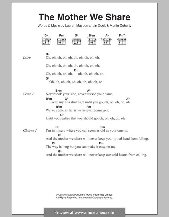 The Mother We Share (Chvrches): Lyrics and chords by Lauren Mayberry, Iain Cook, Martin Doherty