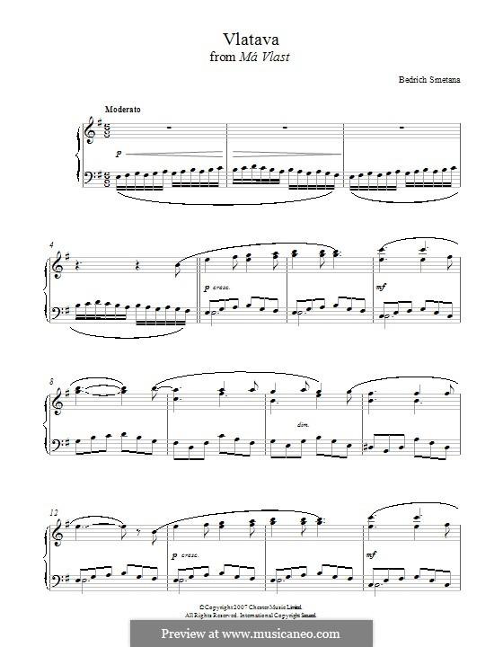 Vltava, T.111: Theme, for piano by Bedřich Smetana