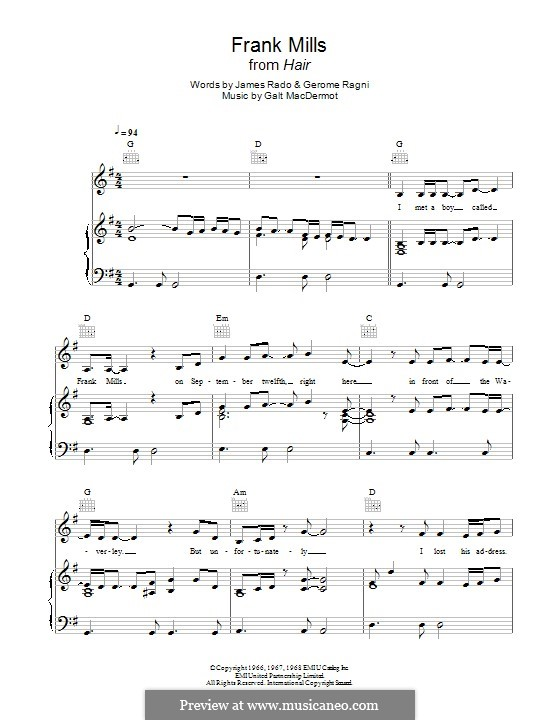Frank Mills: For piano by Galt MacDermot