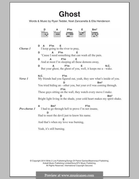 Ghost: Lyrics and chords by Noel Zancanella, Ryan B Tedder, Ella Henderson