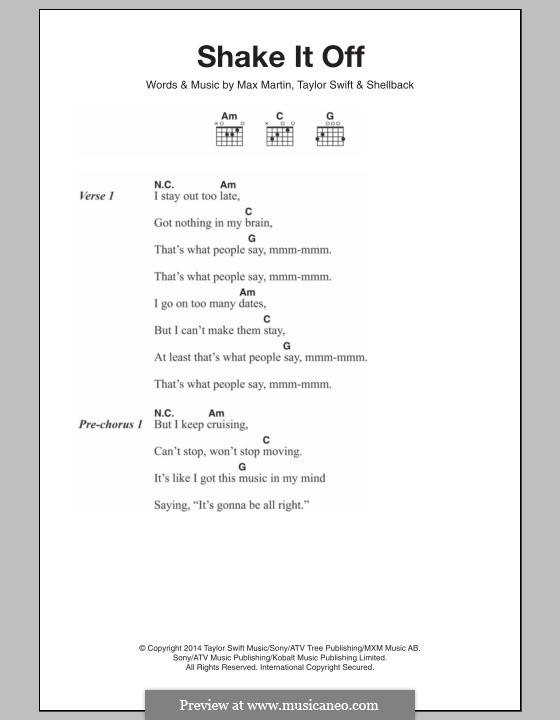 Shake it Off: Lyrics and chords by Shellback, Max Martin, Taylor Swift